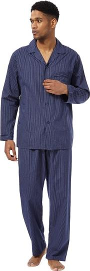 Big And Tall Blue Simple Stripe Top And Bottom Pyjama Set