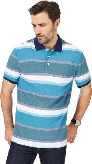 Big And Tall Blue Textured Striped Polo Shirt