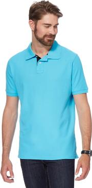 Big And Tall Bright Turquoise Contrast Placket Polo Shirt