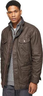 New England Big And Tall Brown Coated Cotton Four Pocket Coat