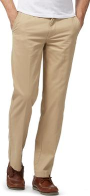 New England Big And Tall Cream Tailored Fit Chinos