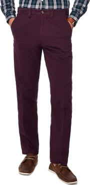 New England Big And Tall Dark Purple Tailored Fit Chinos