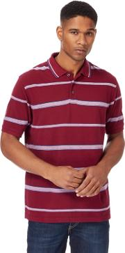 Big And Tall Dark Red Striped Polo Shirt