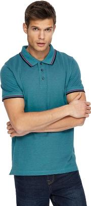 Big And Tall Green Textured Tipped Tailored Fit Polo Shirt