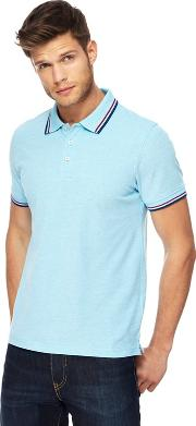 Big And Tall Light Blue Tipped Tailored Fit Polo Shirt