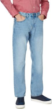 New England Big And Tall Light Blue Wash Straight Jeans