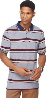 Big And Tall Mid Blue Cardiff Stripe Polo Shirt