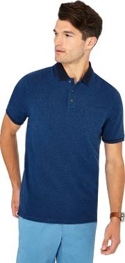 New England Big And Tall Mid Blue Textured Cotton Polo Shirt