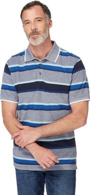 Big And Tall Navy And Blue Striped Pique Polo Shirt