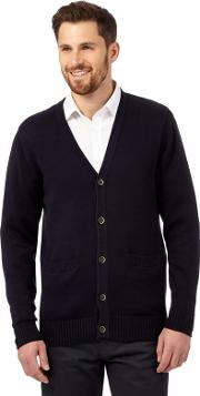 New England Big And Tall Navy Plain Knitted Cardigan