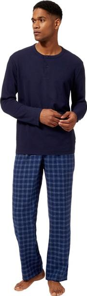 Big And Tall Navy Waffle Texture Pyjama Set