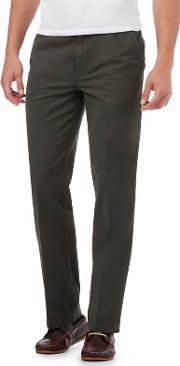 New England Big And Tall Olive Regular Fit Chinos