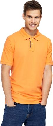 Big And Tall Orange Contrast Placket Polo Shirt