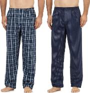 Big And Tall Pack Of Two Navy Cotton Checked Pyjama Bottoms