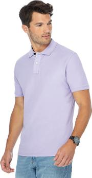 New England Big And Tall Purple Contrast Placket Polo Shirt