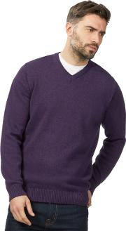 New England Big And Tall Purple V Neck Jumper