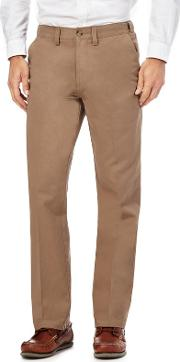 New England Big And Tall Tan Regular Fit Chino Trousers
