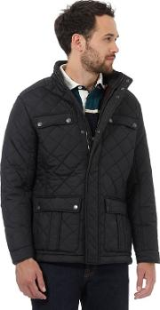New England Black Quilted Herringbone Lined Jacket