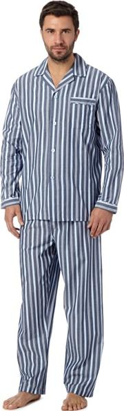 Blue Striped Cotton Pyjama Set