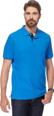 Bright Blue Contrast Placket Polo Shirt