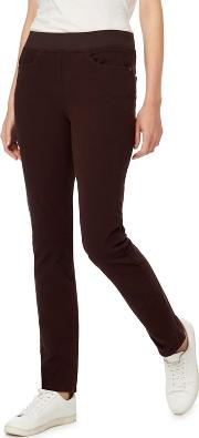 Brown Straight Leg Jeggings