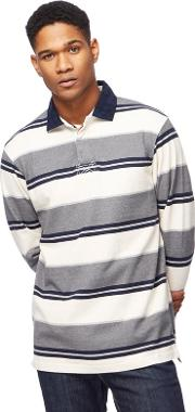 Cream And Navy Striped Rugby Shirt