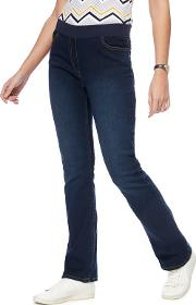 Dark Blue Ribbed Waistband Bootcut Jeggings