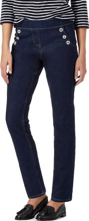 Dark Blue Side Sailor Button Jeggings