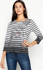 New England Dark Grey Floral And Stripe Print Pure Cotton Top