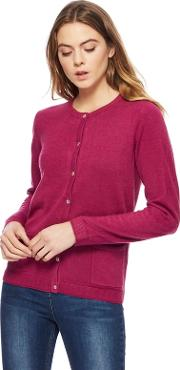 New England Dark Pink Two Pocket Cardigan
