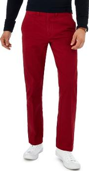 New England Dark Red Tailored Fit Chinos