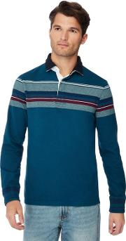 New England Dark Turquoise Chest Stripe Cotton Rugby Top