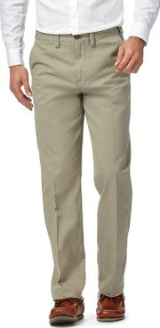 New England Light Olive Green Regular Fit Chino Trousers