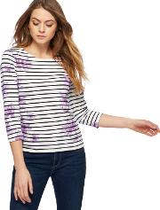 Lilac Striped Floral Print Top
