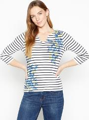 New England Lime Stripe And Floral Print Cotton Top