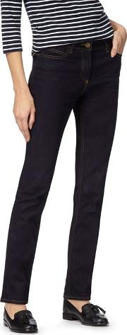 Maine Dark Blue Mid Rise Straight Leg Jeans