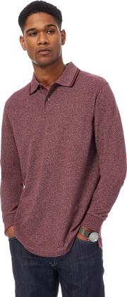 Maroon Textured Long Sleeve Polo Shirt