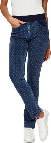 Mid Blue Floral Print Jeggings