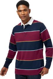 Navy And Dark Red Block Striped Rugby Shirt