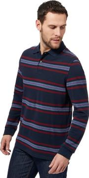 Navy Bedstone Striped Long Sleeve Polo Shirt