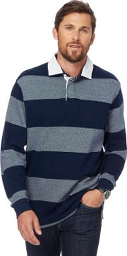 Navy Birdseye Striped Rugby Shirt
