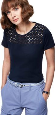 Navy Broderie Anglaise Top