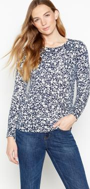 New England Navy Ditsy Print ultra Soft Jumper
