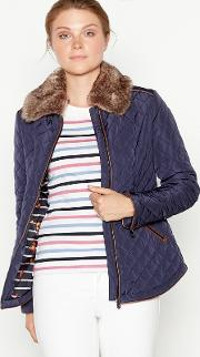 New England Navy Faux Fur Collar Quilted Jacket
