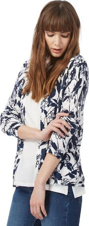 New England Navy Floral Patterned Cardigan
