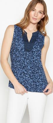 New England Navy Floral Print Top