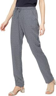 New England Navy Geometric Print Tapered Trousers