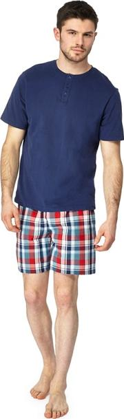 Navy Grandad Top And Checked Shorts Pyjama Set