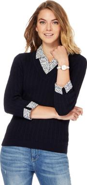 Navy Mock Shirt And Cable Knit Jumper