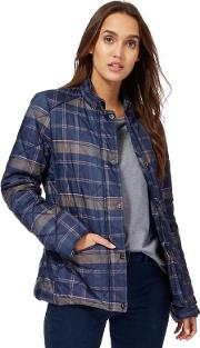 Navy Quilted Check Jacket